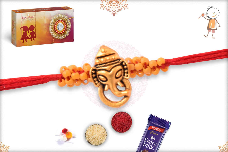 Uniquely Knotted Beads with Ganeshji Rakhi 2