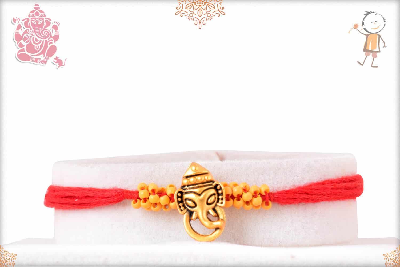 Uniquely Knotted Beads with Ganeshji Rakhi 1