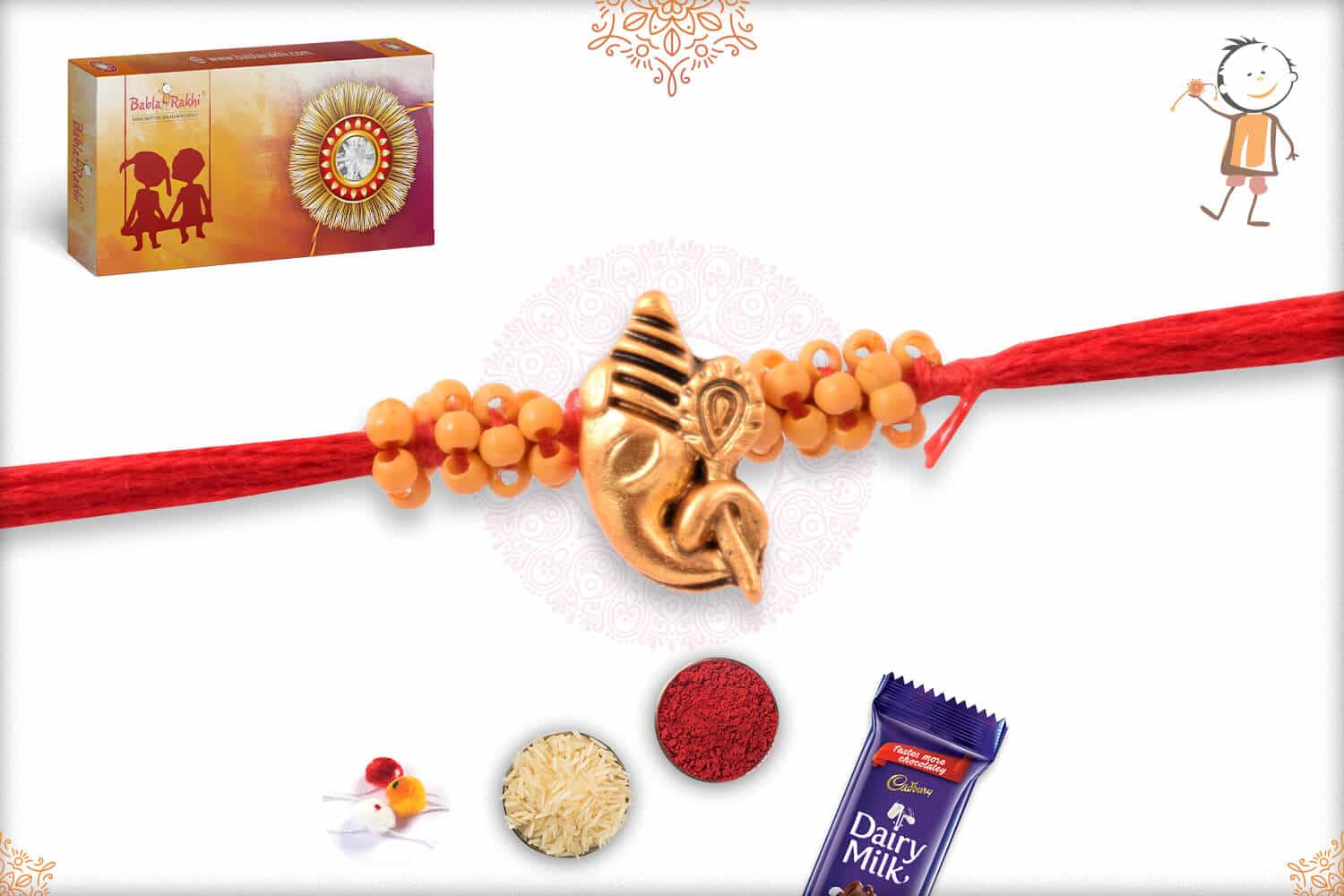 Uniquely Knotted Beads with Golden Ganesh Rakhi 2