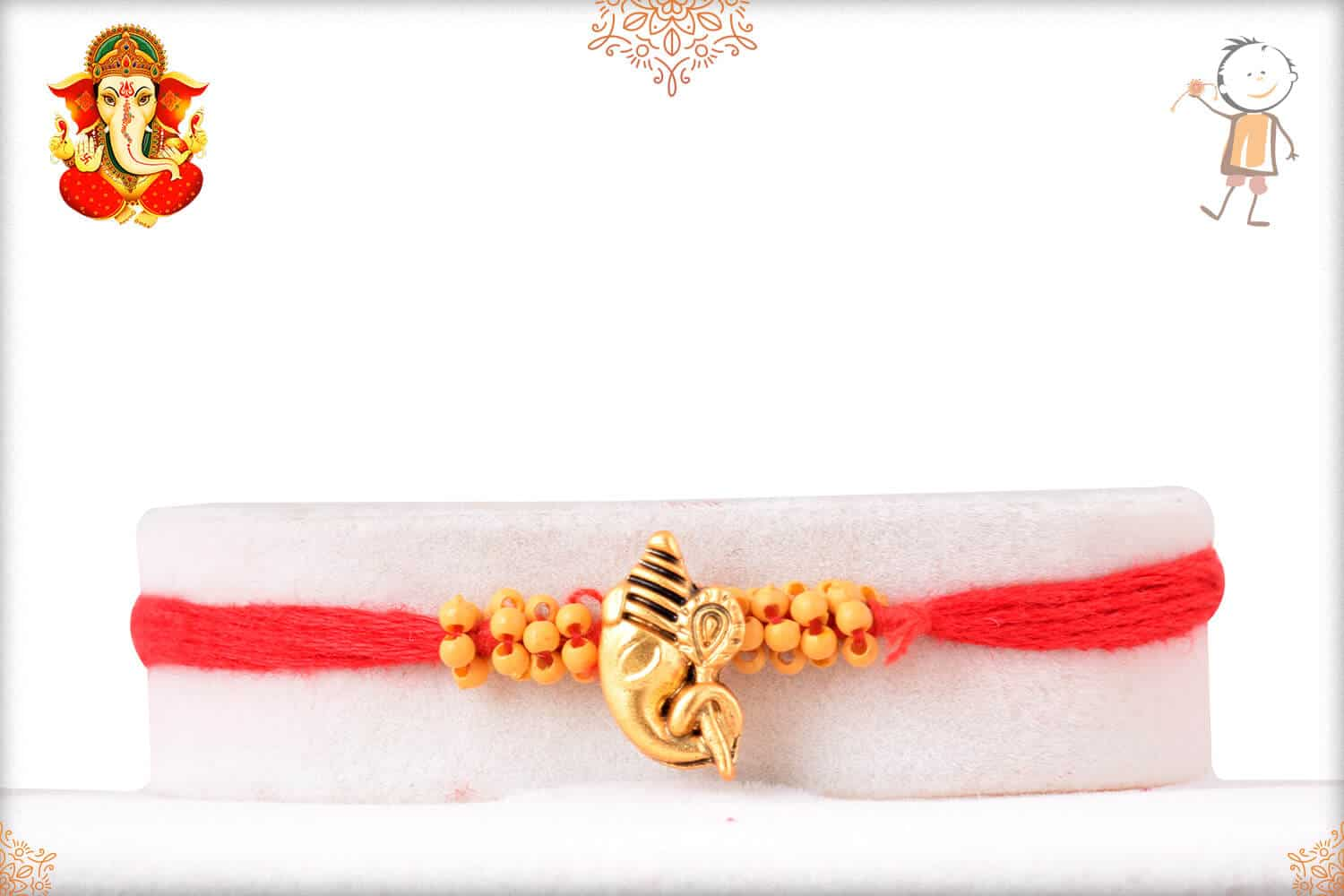 Uniquely Knotted Beads with Golden Ganesh Rakhi 1