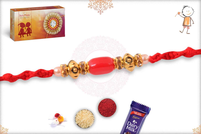 Simple Oval Red Bead Rakhi 1