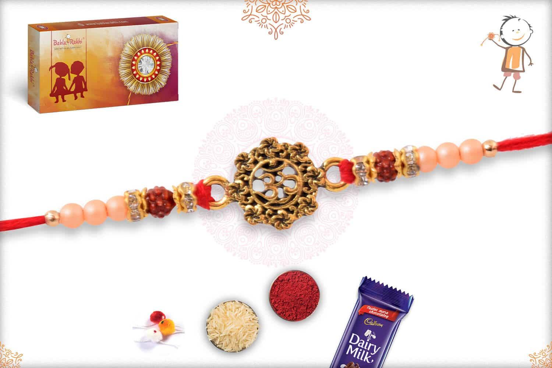OM Rakhi with Rose Gold Beads 2