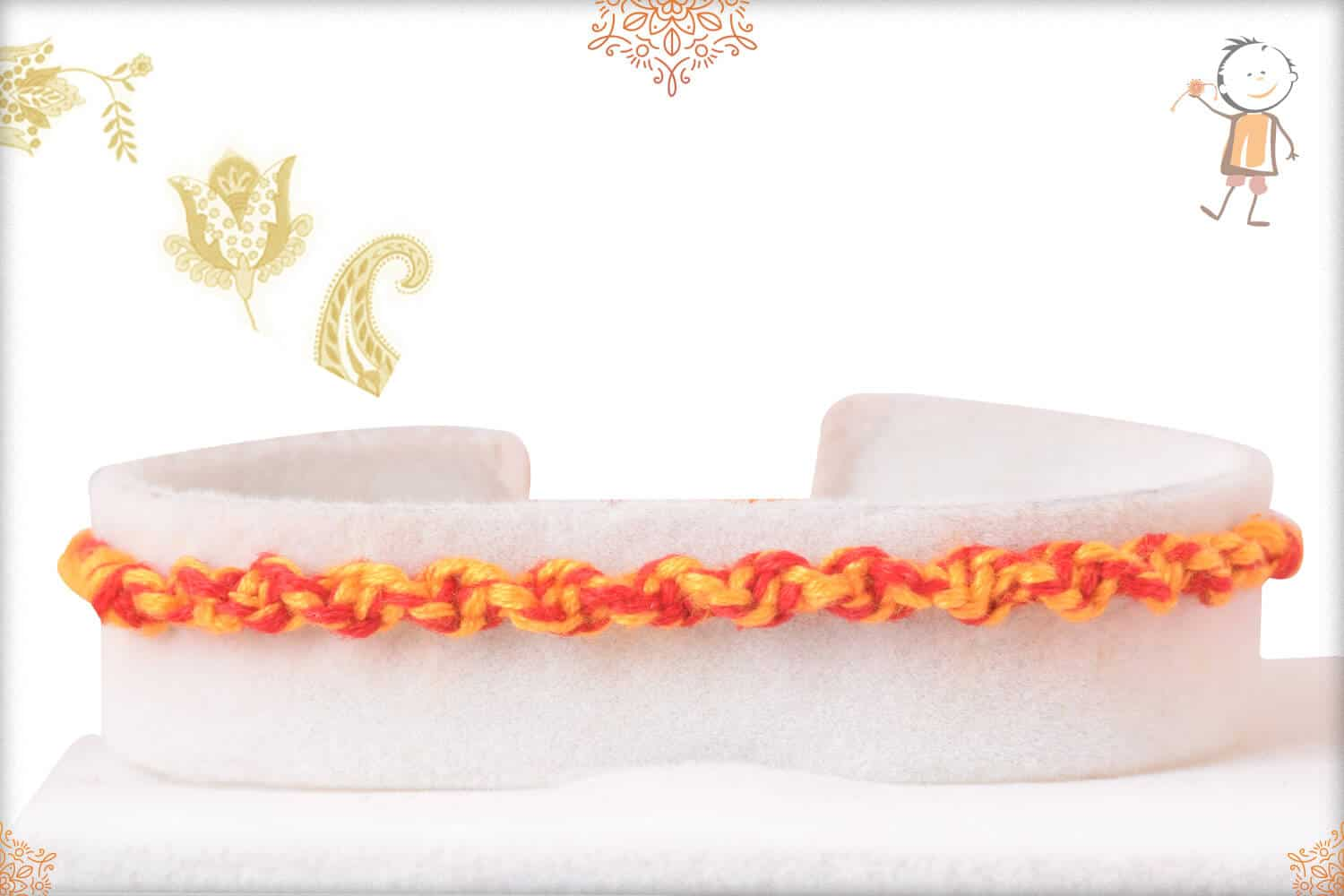 Uniquely Knotted Yellow-Red Thread Rakhi 1