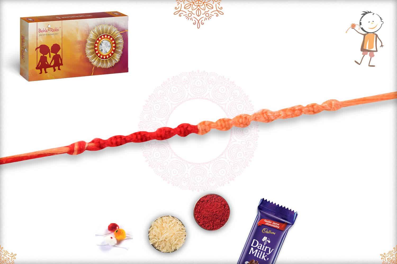 Uniquely Knotted Light Orange-Red Thread Rakhi 2