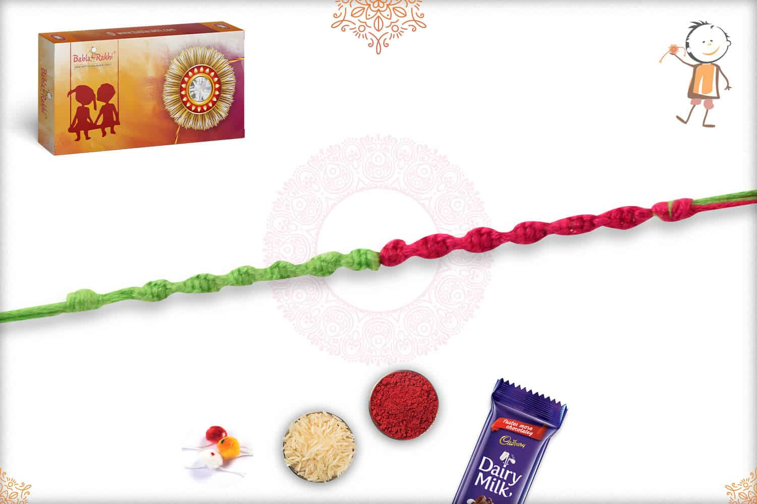 Uniquely Knotted Pink-Green Thread Rakhi 2