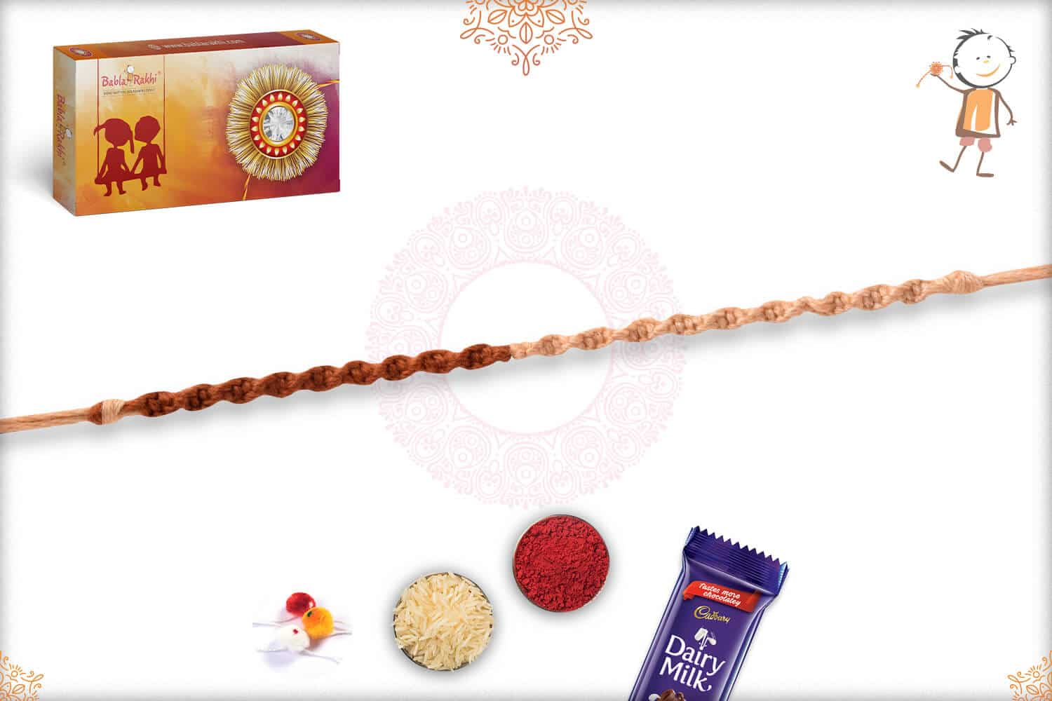 Uniquely Knotted Brown-Ivory Thread Rakhi 2