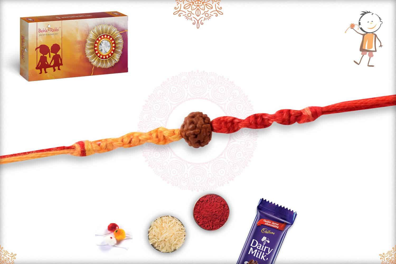 Uniquely Knotted Single Rudraksh Rakhi 2
