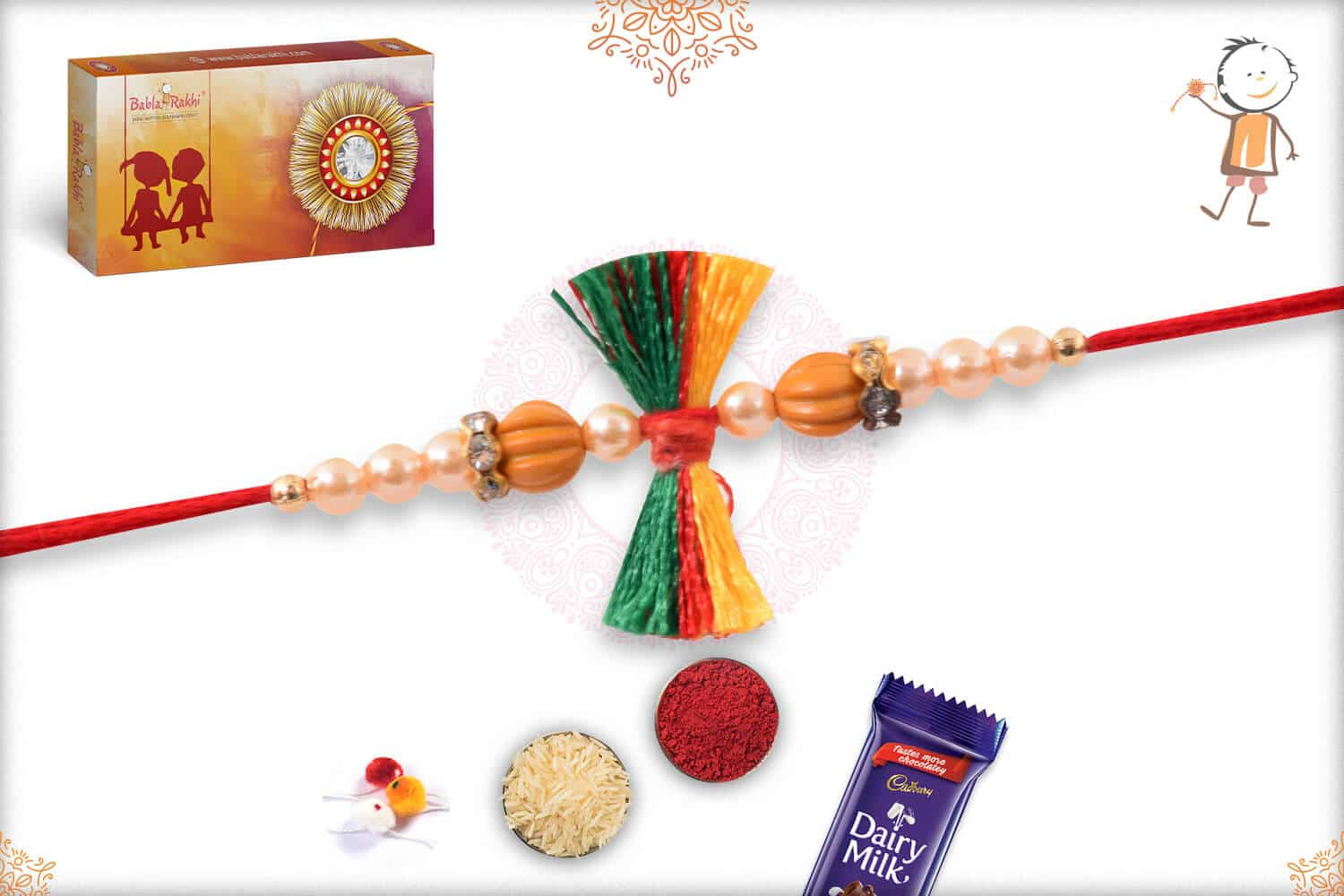 Traditional Thread Rakhi with Pearls 2