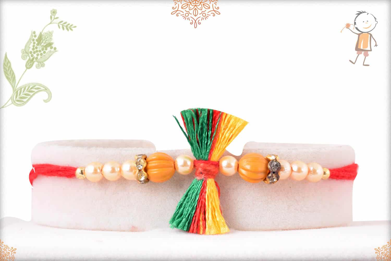 Traditional Thread Rakhi with Pearls 1