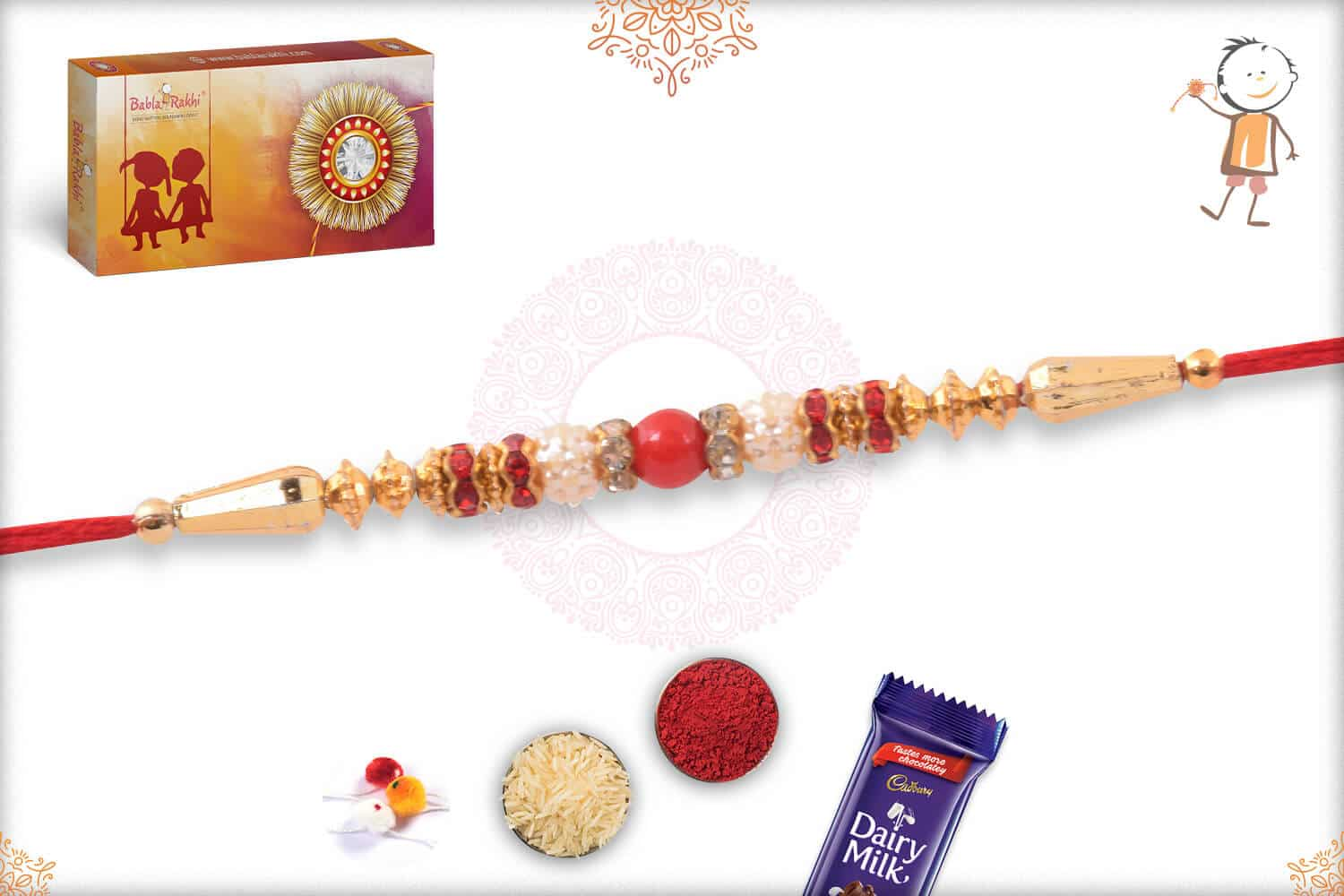 Simple Red and Golden Beads Rakhi 2