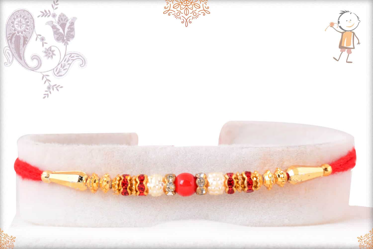 Simple Red and Golden Beads Rakhi 1