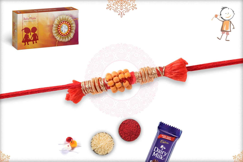 Uniquely Knotted Beads with Zardosi Rakhi 2