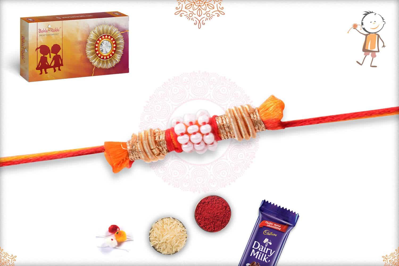 Uniquely Knotted Beads with Zardosi Rakhi with Mauli Thread 2