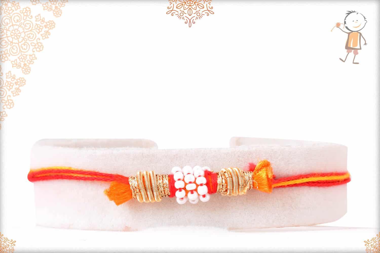 Uniquely Knotted Beads with Zardosi Rakhi with Mauli Thread 1