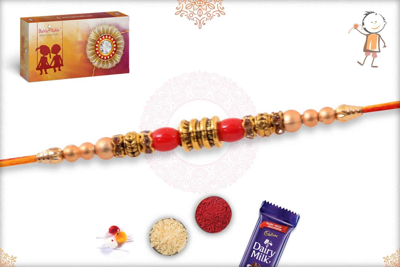 Red and Golden Beads Mauli Rakhi 2