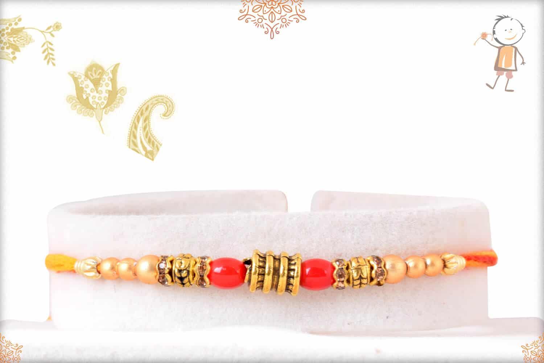 Red and Golden Beads Mauli Rakhi 1