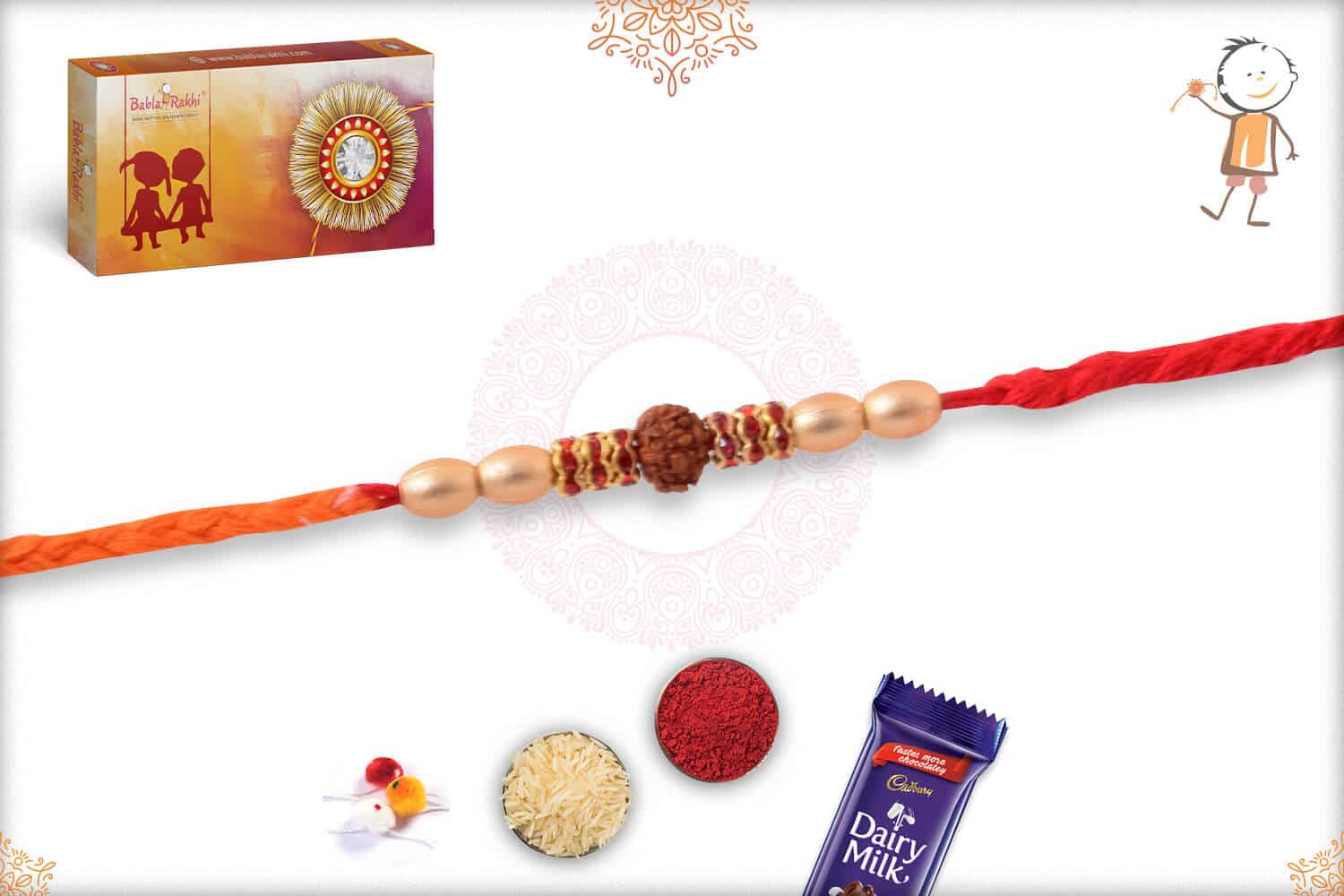 Uniquely Knotted Rudraksh Rakhi with Diamonds and Pearls 2