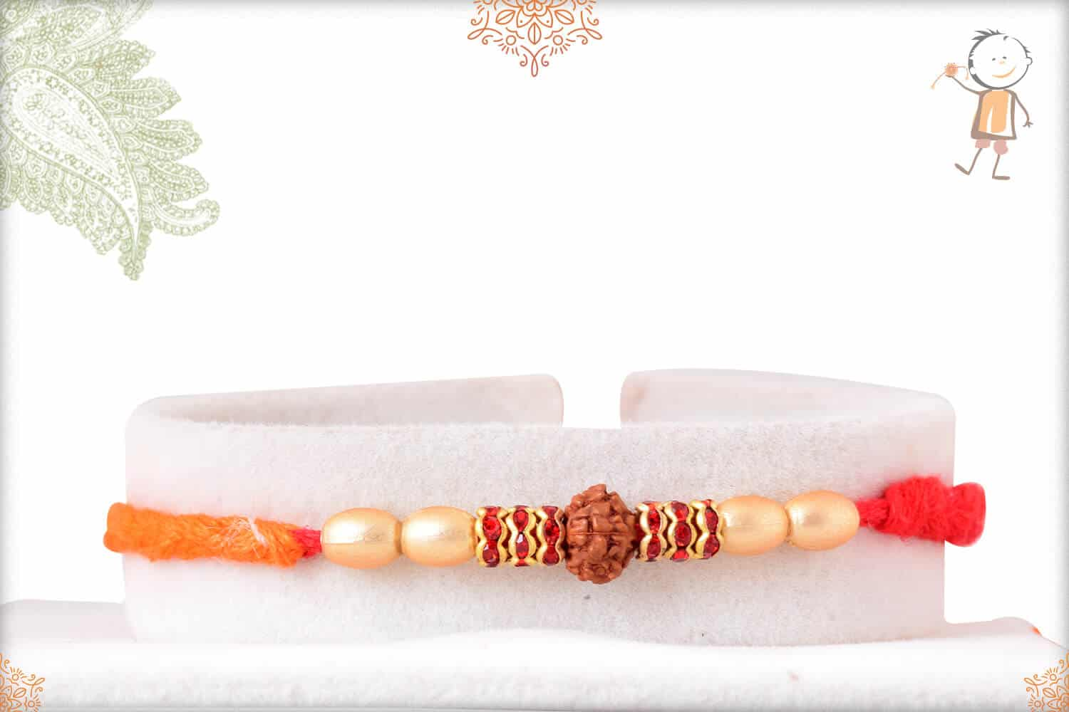 Uniquely Knotted Rudraksh Rakhi with Diamonds and Pearls 1