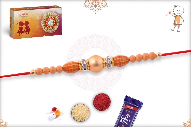 Simple Golden Bead Rakhi 2