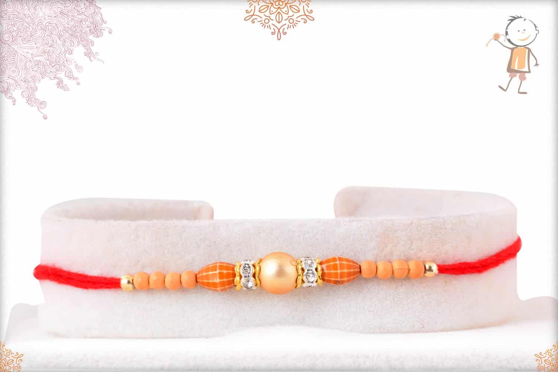 Simple Golden Bead Rakhi 1