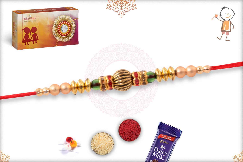 Designer Golden Bead Rakhi with Diamonds 2