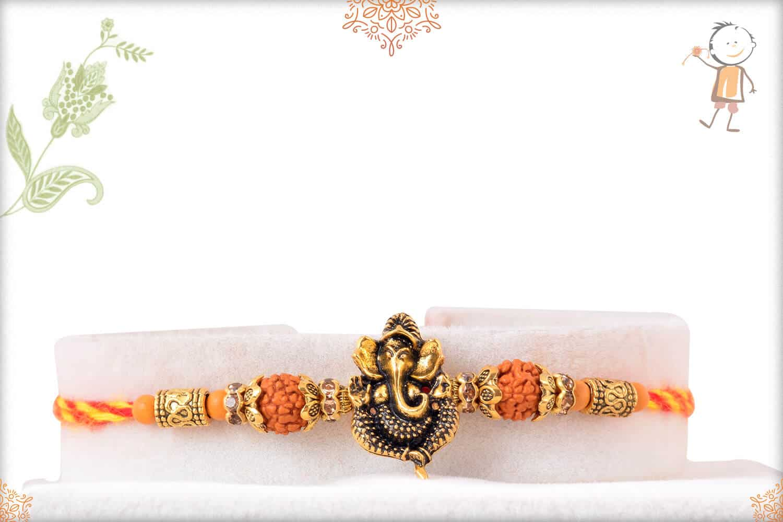 Auspicious Ganeshji Mauli Rakhi with Rudraksh 1