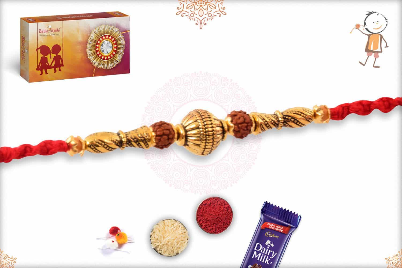 Golden Bead with Rudraksh Rakhi 2