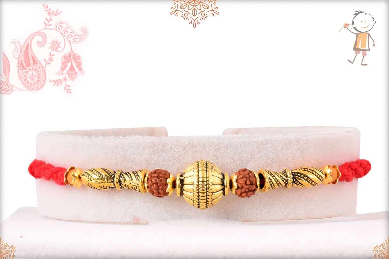 Golden Bead with Rudraksh Rakhi 1