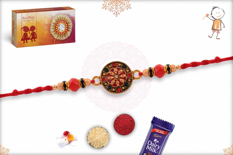 Red Meenakari Rakhi with Diamonds and Beads 2