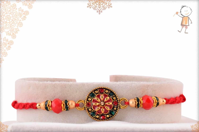 Red Meenakari Rakhi with Diamonds and Beads 1