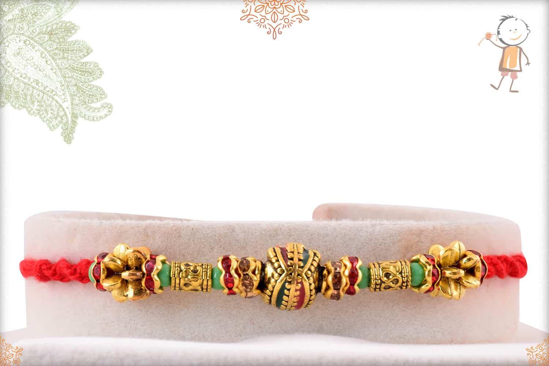 Designer Golden Bead Rakhi with Handcrafted Thread 1