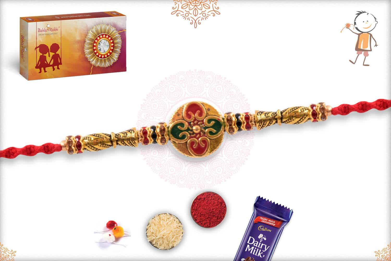 Stunning Meenakari Golden Rakhi with Diamonds 2