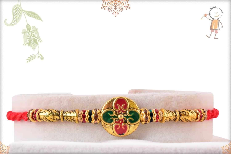 Stunning Meenakari Golden Rakhi with Diamonds 1