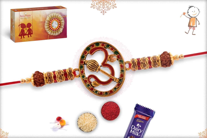 Auspicious OM Rakhi with Rudraksh and Diamonds 2