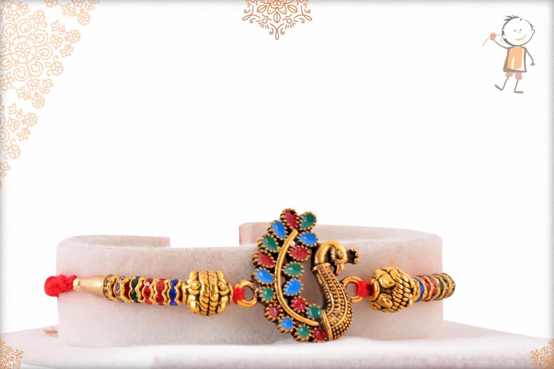 Beautiful Meenakari Peacoak Rakhi with Diamonds 2