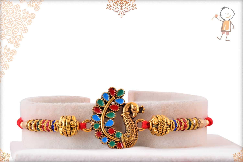 Beautiful Meenakari Peacoak Rakhi with Diamonds 1