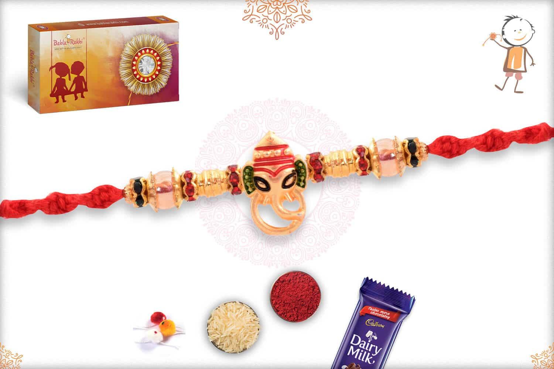 Golden Meenakari Ganesh Rakhi with Beads 2