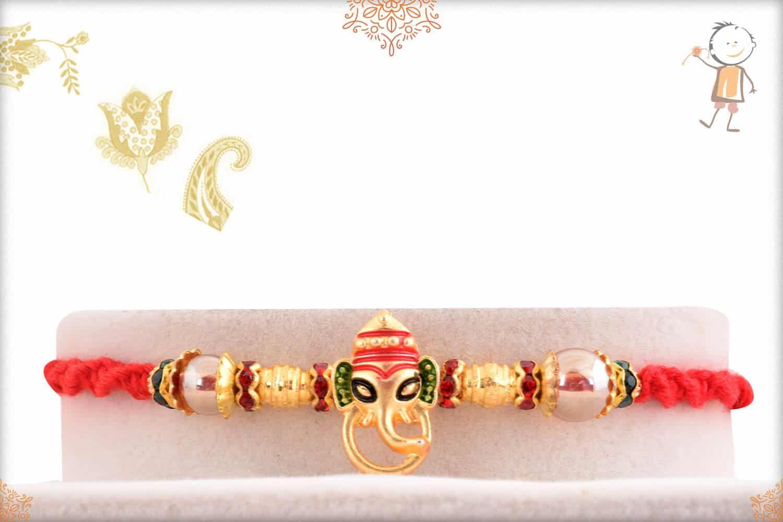 Golden Meenakari Ganesh Rakhi with Beads 1