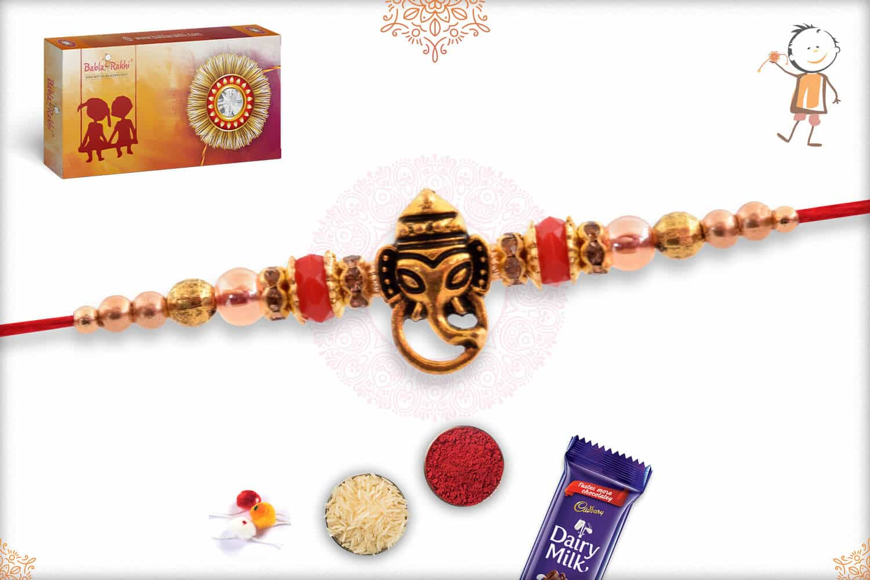 Divine Ganesh Rakhi with Red Beads 2