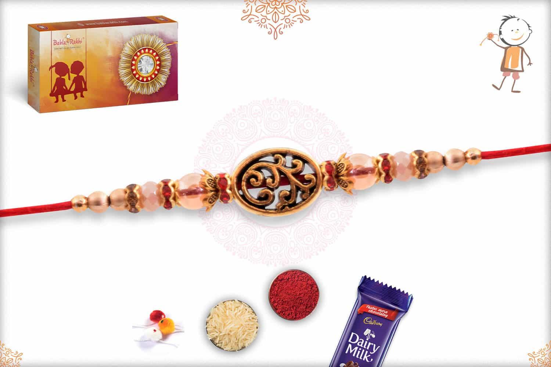 Unique Golden Mauli Rakhi with Beads 2