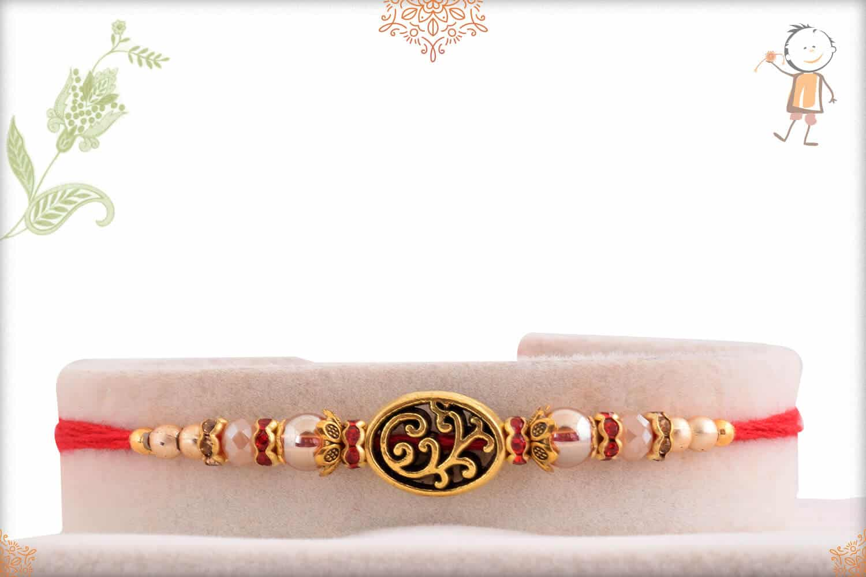 Unique Golden Mauli Rakhi with Beads 1