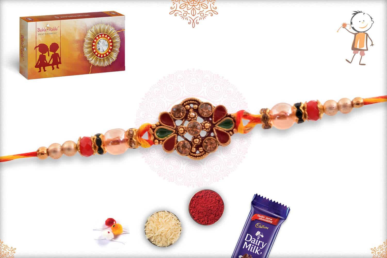 Stunning Diamond Mauli Rakhi with Beads 2