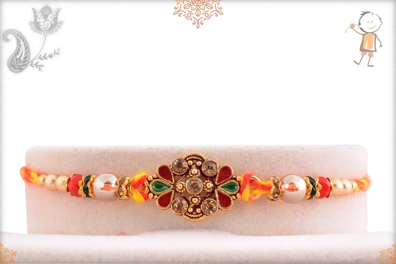 Stunning Diamond Mauli Rakhi with Beads 1