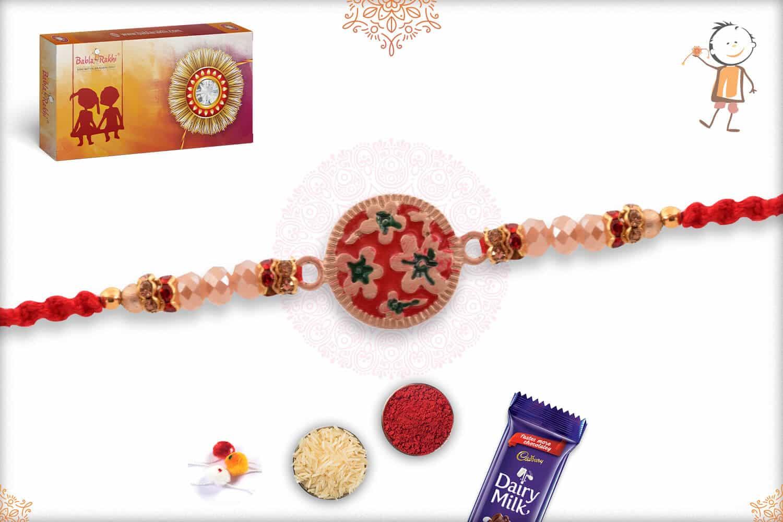 Unique Flower Mauli Rakhi with Beads 2