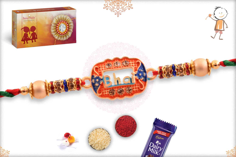 Bhai Rakhi with Diamonds and Beads 2