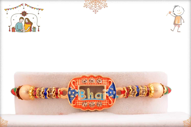 Bhai Rakhi with Diamonds and Beads 1