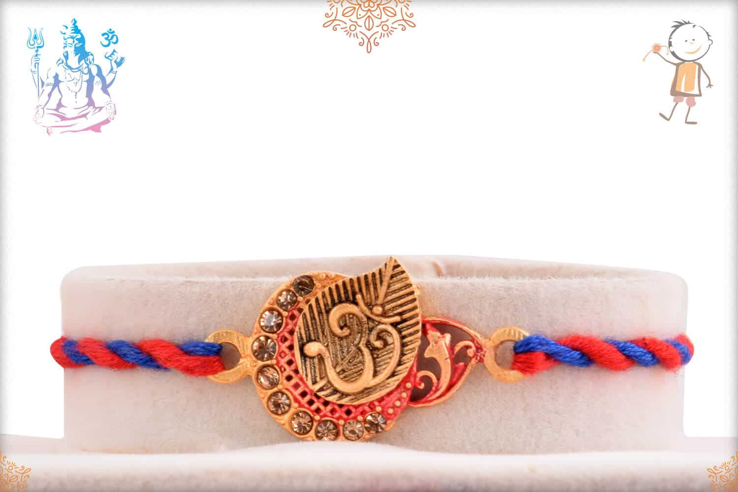 Beautiful OM Rakhi with Red and Blue Thread 1