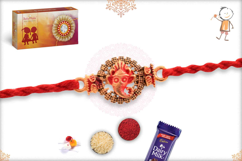 Divine Ganesh Rakhi with Handcrafted Thread 2