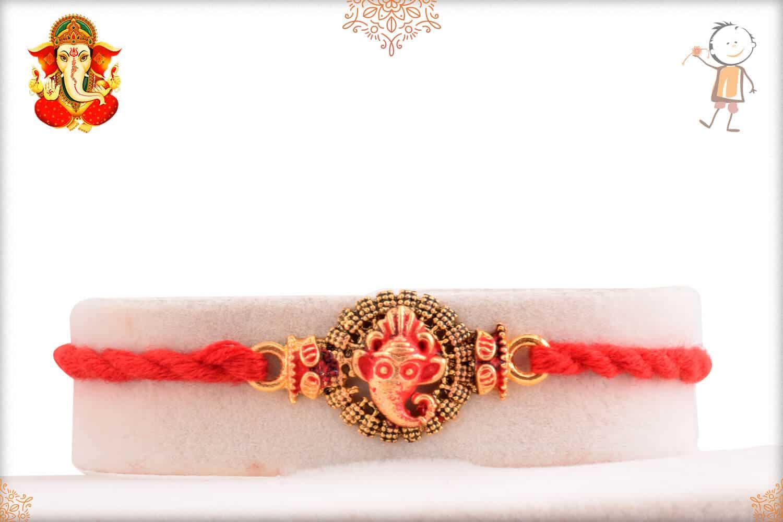 Divine Ganesh Rakhi with Handcrafted Thread 1