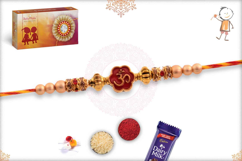 Delicate OM Rakhi with Beads 2